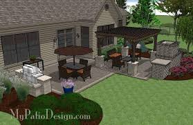 Simple Patio Design Simple Patio Design With Pergola Fireplace And Grill Station