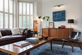 Midcentury Modern Rugs Mid Century Eclectic Living Room Blue Armchairs Combined