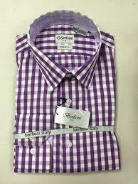 berlioni 100 cotton purple white checkered mens dress shirt