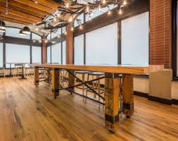 industrial reclaimed wood conference table resin finish
