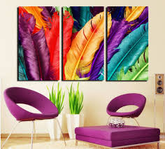 Home Decor Paintings by Aliexpress Com Buy 3 Piece Fresh Look Color Feather Modern Home