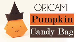 origami pumpkin bag tutorial for halloween diy youtube