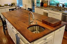 sink cutouts in custom wood countertops face grain mesquite island top with undermount sink and waterlox finish
