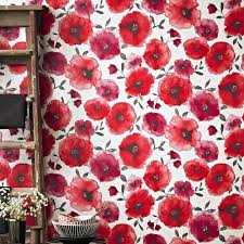 Poppy Wallpaper Home Interior  Image Furniture Inspiration - Poppy wallpaper home interior