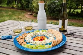 Be Our Guest Le Creuset by Le Creuset Chip And Dip Tray With Cheese Board U2013 Marseille Blue