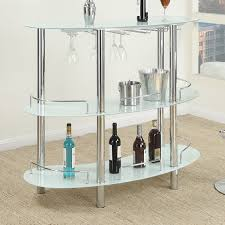 Glass Bar Table Modern Sleek White Black Multi Shelf Tempered Glass Top Bar Stand