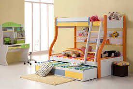 bedroom kids bunk beds with stair and trundle usimg yellow and