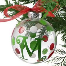 modern glass initial ornaments