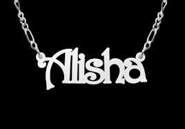 Silver Name Necklace Silver Name Necklace Model Alisha