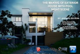 Home Design Using Google Sketchup by Vray Tutorial Exterior Night Scene
