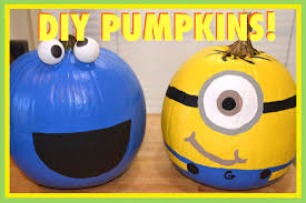 minion u0026 cookie monster pumpkins vlogtober day 7 youtube
