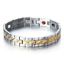 magnetic gold bracelet images Stainless steel men 39 s jewelry with four therapy jpg