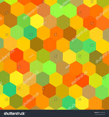 colorful hexagons illustration warm color mix stock illustration