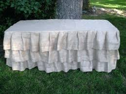 how to make burlap table runners for round tables round burlap ruffled tablecloth ruffled burlap tablecloth tutorial