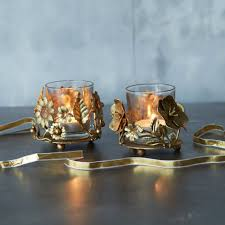 Set Of 2 Gold Vintage Tea Light Holders Christmas At Graham