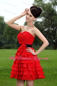 ruched sweetheart layers red bridesmaid dress with black belt