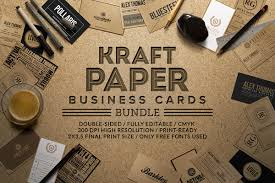 kraft paper business cards bundle on behance