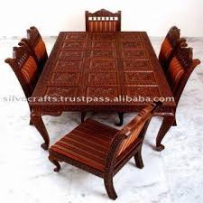 Carved Dining Table And Chairs Indian Teak Wood Carved Dining Room Set Restaurant