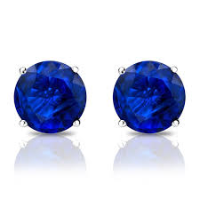 blue stud earrings 1 2 carat sapphire earrings studs blue sapphire handmade