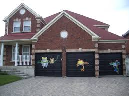 decoration cool door paintings with cool garage ideas lighting