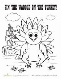 thanksgiving pin the waddle on the turkey worksheet