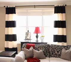 Grey White Striped Curtains Living Room Horizontal Striped Curtains Stripe Black And White
