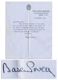 Robert Baden Powell Lot Detail Robert Baden Powell Signed Letter U0027 U0027 I Am Afraid