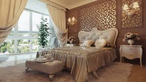architectural interior bedroom design with motifs wall and cream