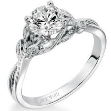 carved engagement rings artcarved corinne leaf diamond engagement ring with center