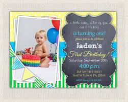 boys 1st birthday invitation blue yellow green dots stripes