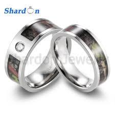 camo wedding ring sets shardon men s camo wedding ring titanium mossy tree camo cz inlay