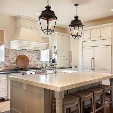 brick backsplashes for kitchens kitchen with used brick backsplash and lantern pendants with