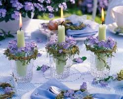 wedding table decor lilacs and candles table decor