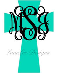 initials monogram deals on cross monogram decal cross decal monogram initials custom