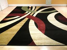 Modern Rug 8x10 Large Black Modern Rug 8x11 Rug Contemporary Style Wavy Circles