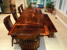 reclaimed wood dining table with bench with inspiration design