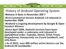android os releases android history ppt