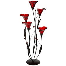Tall Floor Standing Candelabra by Red Lustre Lily Floor Standing Candle Holder Eastern Jewel Home