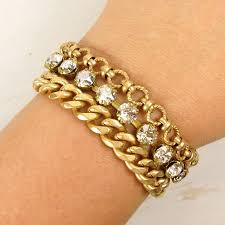gold multi chain bracelet images Catherine popesco multi chain bracelet with crystals talich jpg