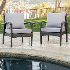 bleecker outdoor grey wicker club chair with cushion set of 2