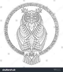 hand drawn owl coloring page stock vector 298186571 shutterstock