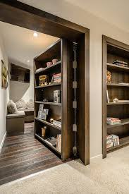 hidden door bookcase closet hall contemporary with wall art