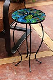 outdoor mosaic accent table amazon com ocean mosaic black iron outdoor accent table home