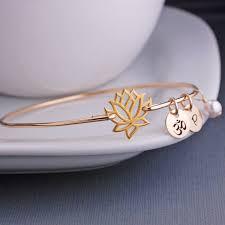 engraved bracelets yogi gift gold lotus jewelry lotus flower bangle bracelet