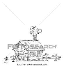 clipart of farm house with windmill k3921784 search clip art
