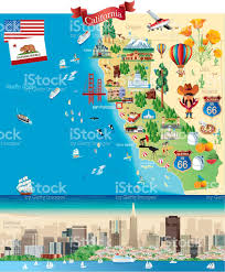 Tourist Map Of San Francisco by Cartoon Map Of California Stock Vector Art 492625202 Istock