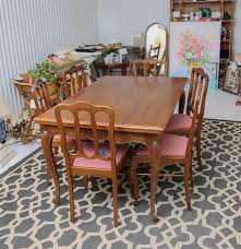 antique oak dining room table and french pierre duex chairs ebth