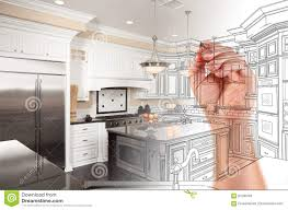 kitchen design sketch hand drawing custom kitchen design with gradation revealing phot