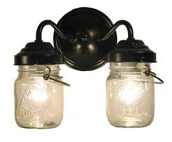 vintage clear canning jar double sconce light farmhouse