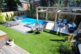 Pool Ideas For Small Backyards Unique Small Backyard Pools Ideas Rectangular Pool Arbour Lounge